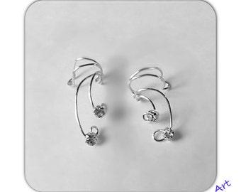 SET Ear cuff wrap -  rhinestone   with nontarnish wire