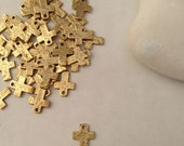 TINY GOLD, 1 Hole Crosses, BULK 5 or 10, Hammered, Charm, Pewter, Supplies