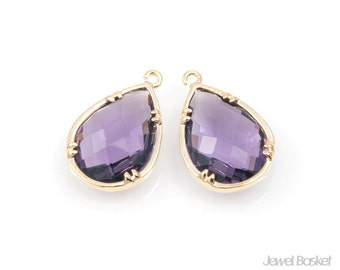 Purple Glass and Gold Plated Brass Frame Teardrop Pendant - 2pcs Amethyst Color Glass Pendant in Gold Frame / 12mm x 18mm / SPUG046-P