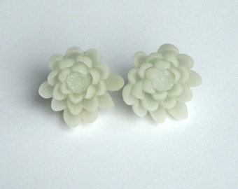 Large Mint Green Flower Stud Earrings - Cotton Candy Flower on Surgical Steel Studs - Vintage Look, Wedding