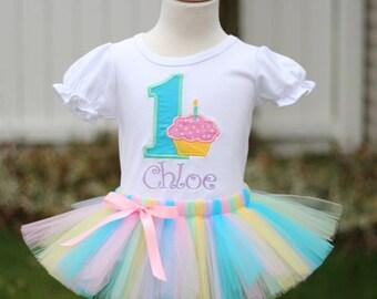 Personalized Pastel Cupcake Birthday Tutu Outfit