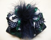 Big Navy Forest White Over the Top Hair Bow Large School Uniform Team Spirit Wear Boutique