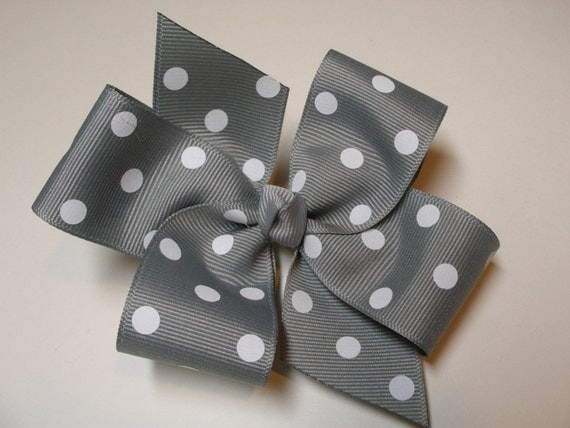 Gray and white Polka Dot Hair Bow Simple Traditional Basic Classic Style Toddler Girl Pick Your Color