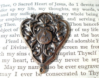 """St. Therese of the Child Jesus - 1 3/4"""" - Bronze or Sterling Silver - Rosary Center - Rosary Parts - Three Way Connector (R48-1177)"""