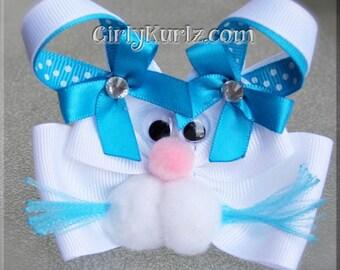 Turquoise Bunny Hair Bow Easter Hair Bow Bunny Hair Clip Rabbit Hair Bow