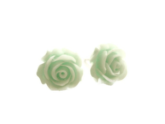 Large Mint Green Resin Rose Vintage Inspired Stud Earrings