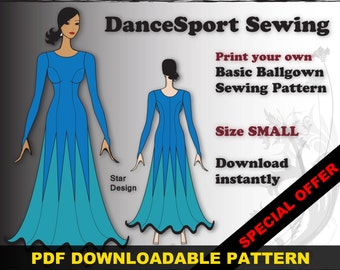 Ballroom and Latin Gown Sewing Pattern, PDF downloadable, SIZE SMALL, plus free Manual