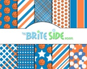 HOOPS Collection - Digital Scrapbooking Paper Pack - 10 Sheets - Basketball