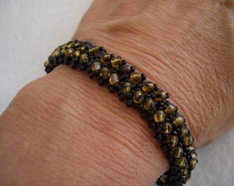 Black and Gold Hand Stitched Herringbone Crystal Beaded Bracelet - NOLA Saints Colors