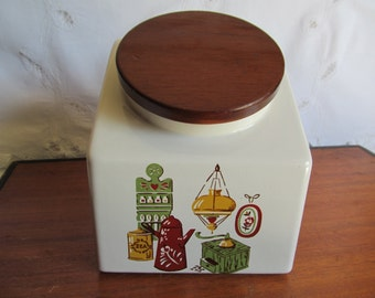 Vintage White Hyalyn Kitchen Canister