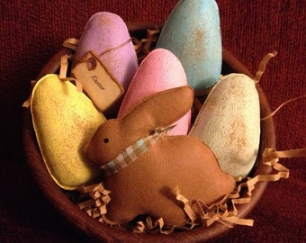 Primitive Easter Bunny and Eggs Bowl Fillers
