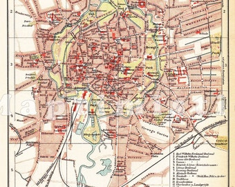 1898 City Map of Braunschweig or Brunswick - Saxony in the 19th Century Antique Map