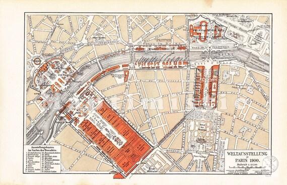1901 Paris at the Exposition Universelle 1900 - the Paris World's Fair in 1900 - Antique Map