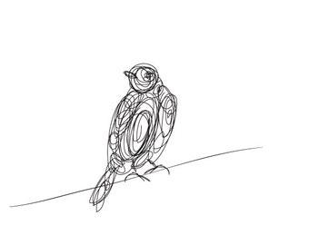 Bird Illustrated Line 2 - Digital Drawing