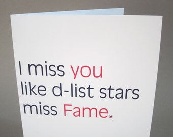 "Missing You Card, Funny Card - ""D-List"""