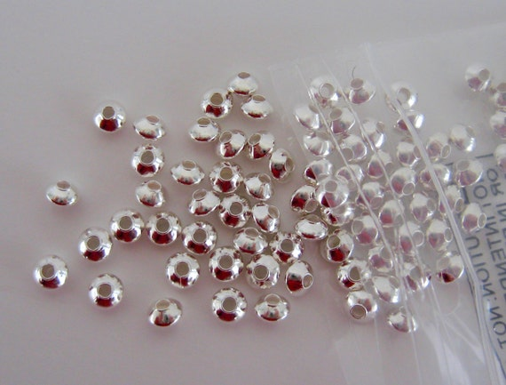 Silver Spacers Beads 100 Saucers Silver Plated Smooth