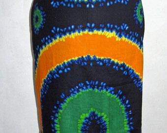 Tie Dye African Wax Print High-Waisted Pencil Skirt