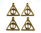 4 Antique Bronze Deathly Hallows Charms