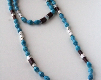 Turquoise, Brown and Cream Paper Bead Necklace