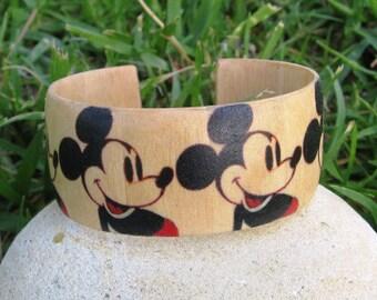 Mickey Mouse Pattern (Warhol) -- wood adjustable bracelet