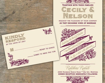 Custom Rustic Romance Wedding Invitations