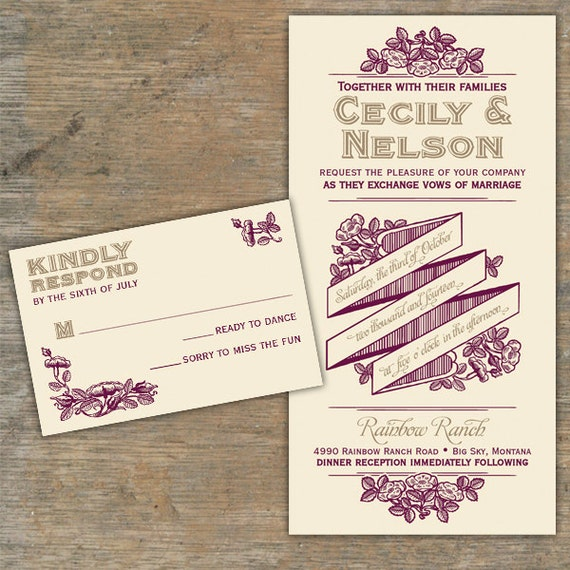 Custom Rustic Romance Wedding Invitations