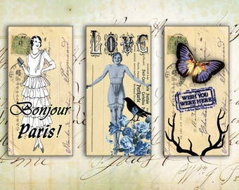 Digital Collage Sheet - Printable Domino - Instant Download - Vintage Domino - Printable Download - BONJOUR PARIS