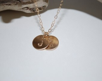 Two gold initials necklace, initial necklace, personalized jewelry, two letter necklace, dainty jewelry, hand stamped, gift