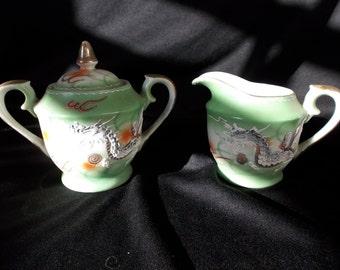 Vintage Green Dragonware Sugar and Creamer