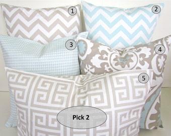 DECORATIVE PILLOWS Set Pick 2 -  TAN 16x20 or 12x20 Lumbar Blue Decorative Throw Pillows Contemporary baby blue Chevron Pillow Covers