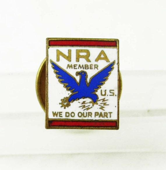 Vintage Nra Enamel Tie Tack Lapel Pin Red White Blue Birthday