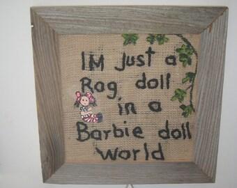 burlap barn wood wall embroidery