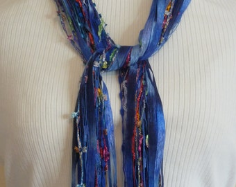 FABULOUS Multicolor Blue Scarf Made With Specialty Yarn - Red, Green, Orange, Purple and Pink - Pretty Gift