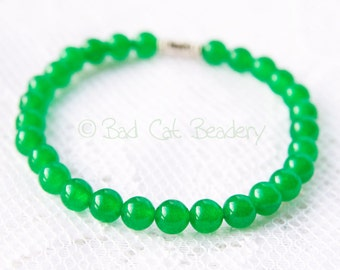 Simple Emerald Green 6mm Bead Stretch Stack Bracelet Spring Jewelry Green Silver