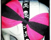 HOT Pink Base with Black Center Stripe Hair Bow