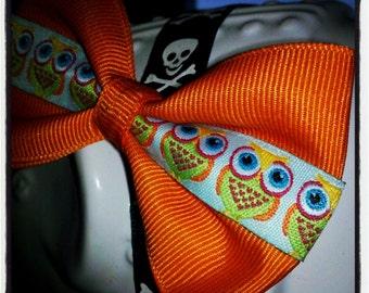 Hoot: Orange, Light Blue, Yellow, Lime Owl Hair Bow