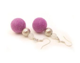 Light Purple Earrings, Lilac Felt Earrings, White Jade Earrings, Jade Beaded Earrings, Wool Felt Dangle Earrings,Pastel Light Weight Jewelry