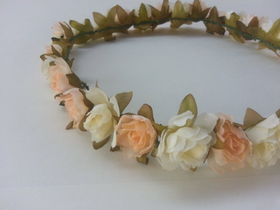 pastel flower headband // floral // peach // cream