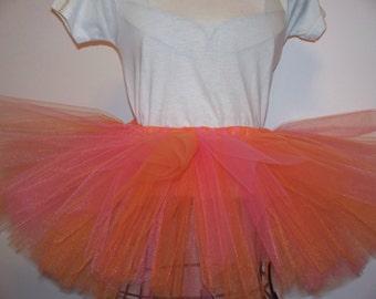 Orange and hot pink sewn tutu
