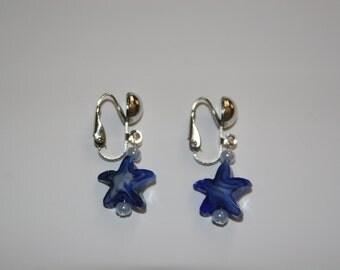 Blue Starfish clip on earrings