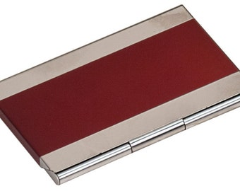 Custom Engraved Red Business Card Holder