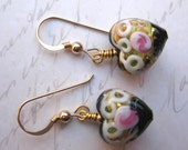 Stunning black and gold Venetian 13mm puffed hearts exquisitely decorated on 14kt gold filled wires