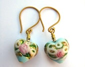 Stunning celeste aqua  and gold Venetian 13mm puffed hearts exquisitely decorated on 14kt gold filled wires