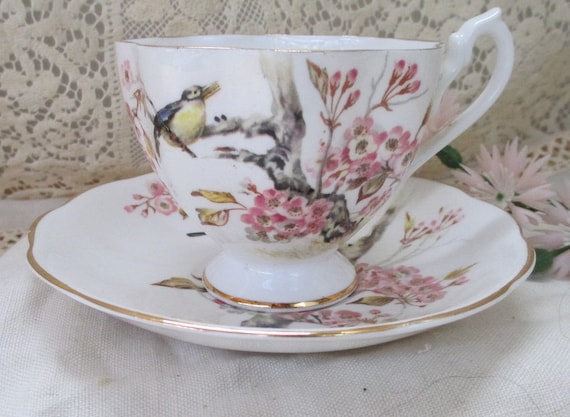 Vintage  Bone China Tea Cup and Saucer with Song Birds and Pink Blossoms