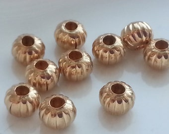 10 Pieces 14k Gold Filled Corrugated Beads 5mm Donut shaped