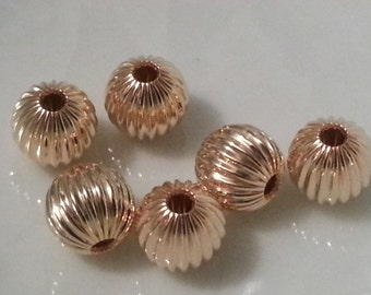 10 Pieces 14k Gold Filled Corrugated Beads 6mm Rounds