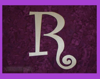 unfinished wood letter R wood letter 6 inch tall Curlz Font