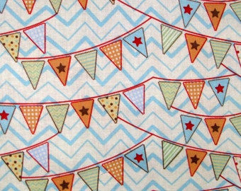 """33"""" REMNANT Circus Flags cotton fabric - colorful pennant bunting  blue, green, red, orange"""