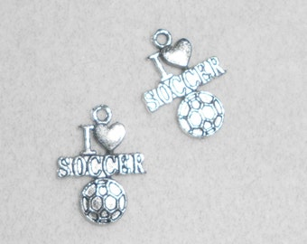 """Silver Sports I """"Heart"""" Soccer  Charms"""