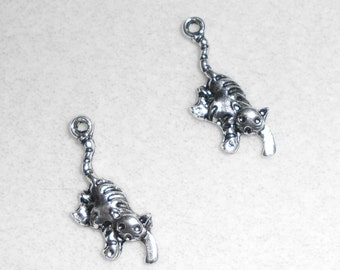 Silver Hanging by the Tail Cat Charms